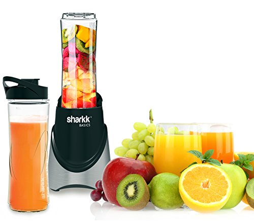 Sharkk Basics Smoothie Maker 300W Mini Personal Blender with Two (2) 20oz (BPA Free) Sport Bottles Stainless Steel Blades and Automatic Safety Function