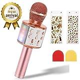 EXJOY Microfono Wireless Karaoke per Bambini, Microfono Bluetooth con Luce LED, Compatibile con iPhone & Android, Mic Portatile per Bambini con Funzionamento Registrazione per Casa KTV Esterno Festa