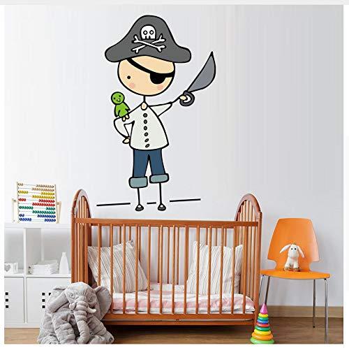 (LIWEIXKY Cartoon Pirate Mateys Vollfarbe Vinyl Aufkleber Wandaufkleber Für Kinderzimmer Kindergarten Abnehmbare Tapeten Decals Schlafzimmer Wohnkultur)