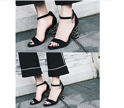 NobS Women Suede Sandals Metallo Tallone Talloni Grosso Scarpe Randi Dimensioni Estate Cinturini Alla Caviglia Con Fibbia Shoes Black