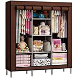 Anvera Anva Iron Fancy and Portable Foldable Almirah Wardrobe with 6 Cabinet and 2 Long Shelves Clothes Organizer Multicolor