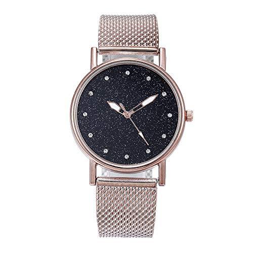YEARNLY Classic Damen-Armbanduhr Analog Quarz Rosegold Schwarzer Sternenhimmel mit Rosa, Lila, Rotgold, Rot, Silber, Schwarz, Blau Silikon Armreif