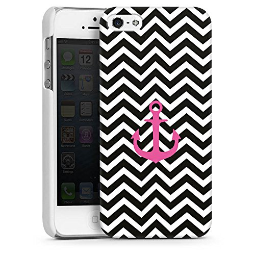 Apple iPhone 5s Housse Étui Protection Coque Zigzag Maritime Ancre CasDur blanc