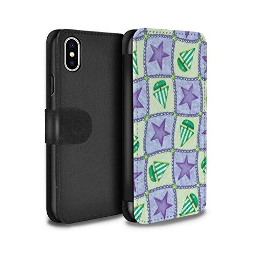 Stuff4 Coque/Etui/Housse Cuir PU Case/Cover pour Apple iPhone X/10 / Pack (10 modèles) Design / Bateaux étoiles Collection Pourpre/Vert
