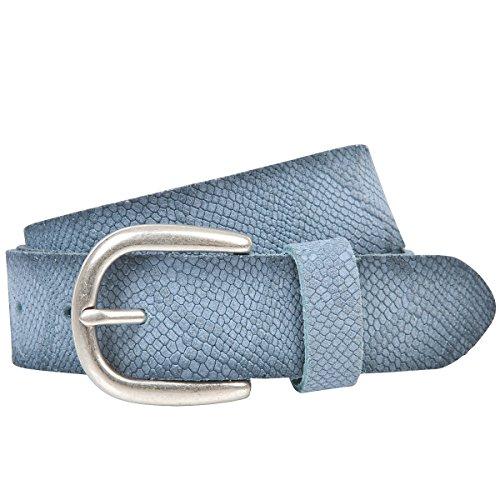 LINDENMANN The Art of Belt Ledergürtel Damen/Gürtel Damen, Rindledergürtel mit Python-Print, jeans, Größe/Size:100, Farbe/Color:blau Python Print Belt