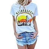 CUTUDE Chemisier Femme Lettre Imprimer T-Shirts Manches Courtes O-Cou Modèle Tops Polo Gilet Tunic Chemise Tunique...