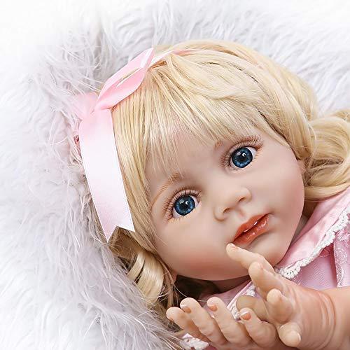 Lebensechte Reborn Kleinkind Jahr Alte Simulation Silikon Mädchen Blonde Haar 24 Zoll 60 cm Kinder Tragen Modell Kinder Erwachsene Begleiten Freund (Lebensechte Baby-puppen Für Erwachsene)