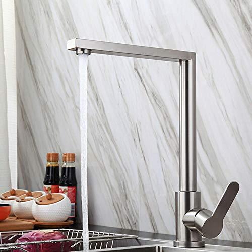 Fire wolf Küchenarmatur:Armatur für die Küche - Einhand Ein Loch Edelstahl Standard Spout Ordinär Kitchen Taps:Satin Chrom -