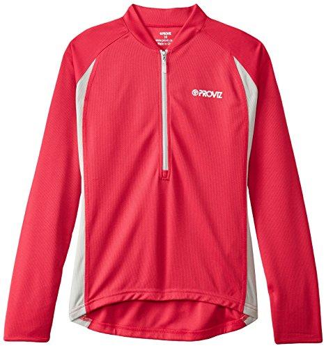 Proviz femmes manches longues Zip T-Shirt de cyclisme/course à pied Rose - Rose