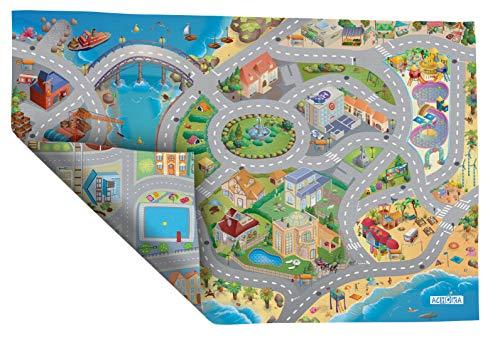 House of Kids-94074-Spiel-Teppich, Umkehrbar-Motiv: Straßen am Meer