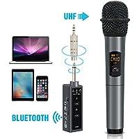 TONOR Bluetooth Wireless Mikrofon, 10 Kanal UHF Handmikrofon Karaoke Singing Mic mit Mini FM Empfänger, kompatibel mit Lautsprecher / Handy / IPAD / Laptop für Hochzeiten / Kirche / Bühne / Party (UHF Bluetooth 2)