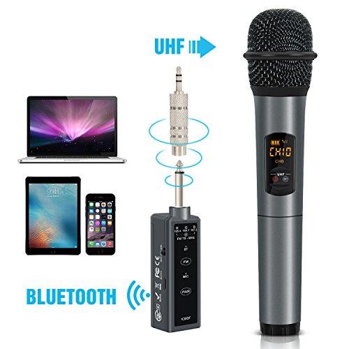 TONOR Micrófono Inalámbrico con Bluetooth Portátil para Karaoke con Apertura de 10 Canales UHF y con un Pequeño Receptor FM, Compatible con Altavoces / Celular / IPAD / Laptop para las Bodas / Escenario / Fiestas / Negro