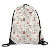 DHNKW Cute Indian Primitive Fox Arrows Bear Lodge Houses Feather Graphic Drawstring Gym Sack Sport Bag for Men and Women