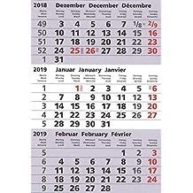 Kalendarium 2019+2020 für 3-Monats-Tischkalender Vela