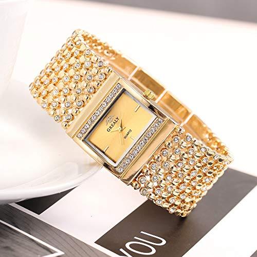 COOKDATE Damen Uhr mit Perlmutt Zifferblatt, Swarovski Elements Silbernem Armband aus echtem Leder Gold - Für Büro Damen-uhr