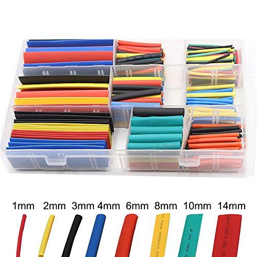 JTENG Guaine termorestringenti Tubo termorestringente per cavi elettrici Heat Shrink Car Electrical Wire Tubing 5 colori 8 Taglia