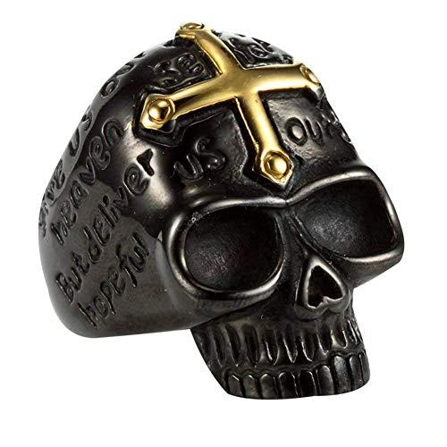 XIABME Gold Plated Cross Skull Tatto Engraved Ring Stainless Steel Men's Rings
