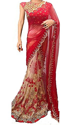 Mira Fashion Women\'s Georgette Saree With Blouse Piece (Mf-522_Red)
