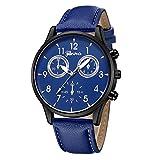 IG-Invictus Mode Für Männer Leder Military Casual Analoge Quarz-Armbanduhr Geschäfts Uhren Genf Watch 635 Gürtel Schwarz Blau Silber Verzierte Blaues Band