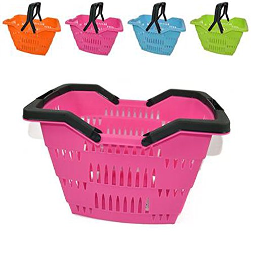 Cestini in plastica colorati con due manici per la spesa o bucato