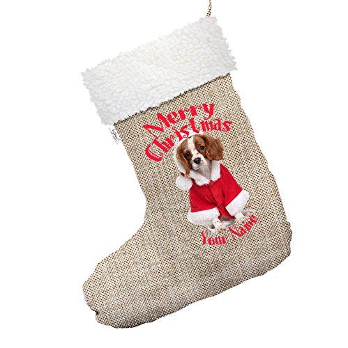 personalisierbar Spaniel Wearing Santa Kostüm großer Hessischer Deluxe Weihnachtsstrumpf mit weißem (Alle Hände Deck An Kostüm)