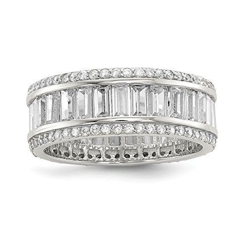 Sterling Silver Baguette and Round CZ Eternity Ring - Size 7
