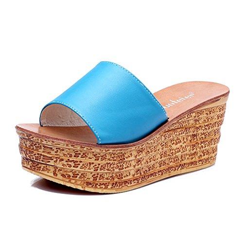 Mulher Primeiros Os Grossa As Arrefecer Sandálias Filipinas Encaminhadas Chinelos Azul Campo Com Zyushiz gwdnqpEg