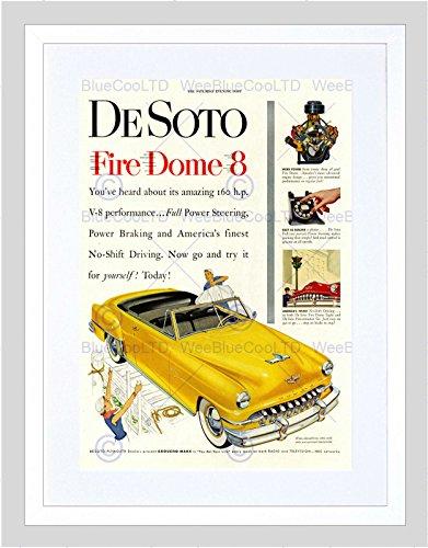 Preisvergleich Produktbild AD CAR CLASSIC AUTOMOBILE DESOTO FIRE DOME 8 NO-SHIFT FRAMED ART PRINT B12X5581