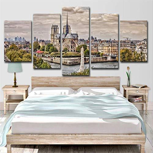 Notre-dame-artwork (HQATPR 5D Diamond Painting Werkzeug SetNotre Dame de Paris Painting Wall Decor Classic 5 Piece Canvas Wall Art Large Artwork Prints Poster for Home Picture Decoration)