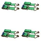 ratchoox Ratsche Spanngurte 2T Heavy Duty mit Gummi Griff für Fahrradanhänger Cargo grün, grün