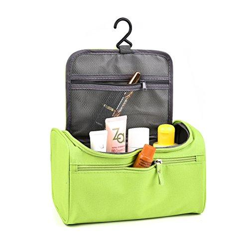 Tyhbelle Wasserdichter Kulturbeutel Kulturtasche Waschbeutel Kosmetiktasche mit vielen Netzen Flächern und einem Haken für Damen und Herren (Grün)