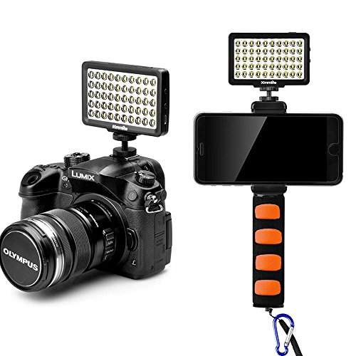 Commlite CM-L50BII Dimmable 50 LED Ultra High Power Panel Kamera LED Video Licht,Universal Mini Kamera Licht für Smartphone,Canon,Nikon,Panasonic,SONY,Digitalkameras(Schwarz)(mit Orange Handgriff)