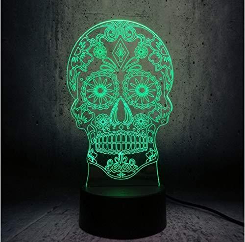 Lampe kreative künstlerische 3D-Visualisierung LED Lampe Crossbones Kopf Nachtlicht Halloween Dekor Spielzeug ()