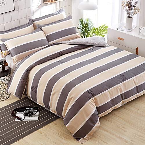 JWANS Bettlaken Bettbezug Kissenbezug 4 Stück Kombination Bettwäsche Set Farbe Mix Streifen gedrucktes Muster Gesteppte Patchwork Baumwolle Bettwäsche Twin Queen -