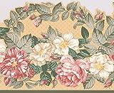 exquis Floral Rose et blanc Pivoine Fleurs Frise pour papier peint pour cuisine salle...
