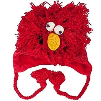 Monster Behaart Rot (Red Hairy Monster) - Strickmütze mit Monster-Charakter im Nepal Stil (Monster Hat)