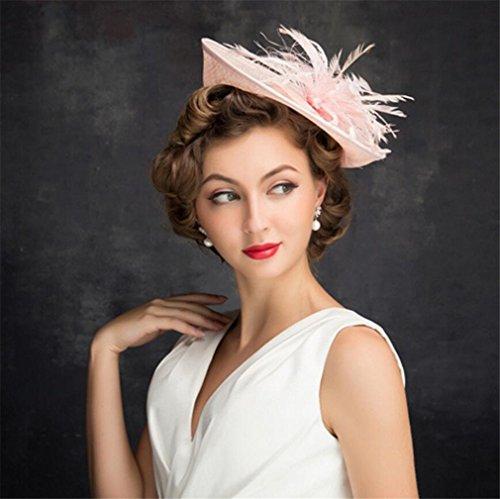 (ELEGENCE-Z Europäische Fascinator Leinen Rosa Top Hut Hochzeit Zubehör Royal Party Hut)
