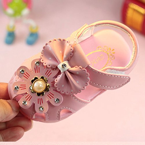 Zhhlaixing Baby Girls Toddler Hollow Bowknot Sandals Lighted Soft-Soled Shoes Summer Shoes Pink