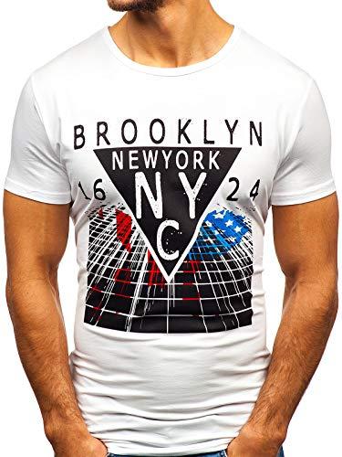 BOLF Herren T-Shirt mit Rundhalsausschnitt Print Aufdruck Täglicher Stil J.Style KY31 Weiß S [3C3] | 05902646979441