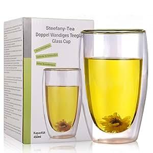 Doppel Wandiges Teeglas, Doppelwandiges Thermo-Glas, Thermo-Gläser große Tassen mit Schwebeeffekt für Milch, Kaffee, Kakao, Tee, Shake, Smoothie, Cocktail, etc, 450ML