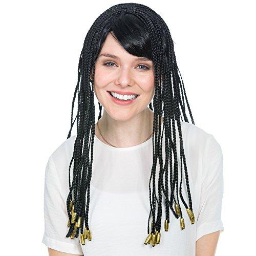Perücke mit geflochtenen Haarsträhnen | 50 cm lang | Kleopatra Ägypterin Hippie 70er FlowerPower Antike Fasching | schwarz