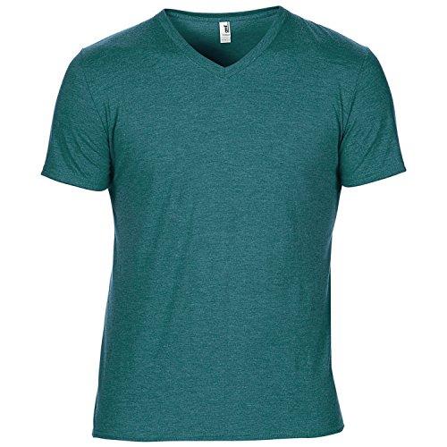 Anvil - Camiseta básica ligera de manga corta y cuello de pico Modelo Tri-Blend Hombre/Caballero - Ligera (Mediana (M)/Azul Galapago jaspeado)