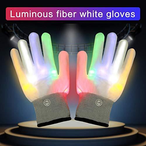 Yukio Festival - LED Bunte Beleuchtung Finger Glow Handschuhe für Stage Performance Party Halloween, Weihnachten ,Festival,Licht Show Kostüme,Geschenk (Weiß)
