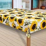 Wachstuch-Tischdecke Abwaschbar Garten-Tischdecke Wachstischdecke PVC Plastik-Tischdecken Outdoor Eckig Meterware Wetterfest Wasserabweisend Abwischbar |44|, Muster:Sonnenblume gelb, Größe:130x300 cm