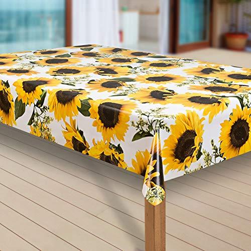 laro Tischdecke Wachstuch Tischläufer Wachstischdecke PVC abwaschbare Tischdecke Wasserabweisend Schutz |44|, Größe:100x140 cm, Muster:Sonnenblume gelb