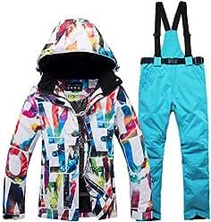 FELICIG Chaqueta de esquí y pantalón de Snow para Mujer, Impermeable y Resistente al Viento