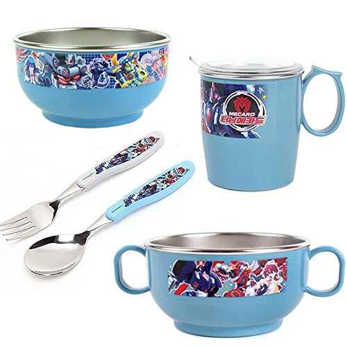 Character design Suction Baby Bowls Stainless Steel Feeding set Dinnerware/Anti-slip silicone/Fork, Spoon, Two Bowls, Cup, Cup Lid/For Baby Boys Girls Great Gift/Set of 5