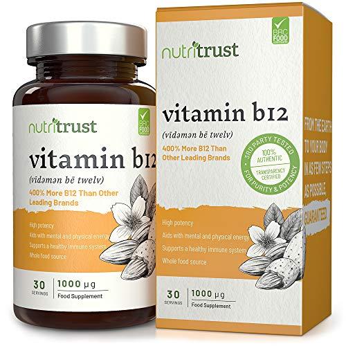 Comprimidos Vitamina B12 1000μg Nutritrust® - 400% Más Vitamina B12 que Otras...