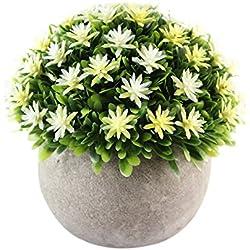 Vintage de flores Artificial en maceta bonsai simulación planta adornos maceta con flor bola Hierba bola Pot hogar Balcón mesa decoración plástico verde hierba Plantas