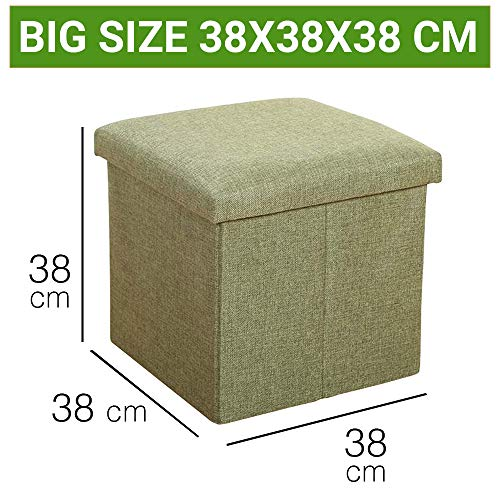 Sterling Stools for Sitting in Living Room Storage Stools for Sitting Storage Box for Toys of Kids - Green Foldable Stool (38 x 38 x 38 cm)